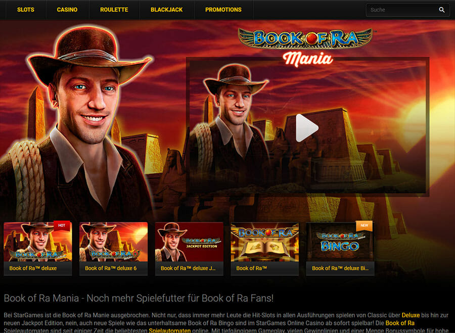 Stargames Casino Book Of Ra Mania